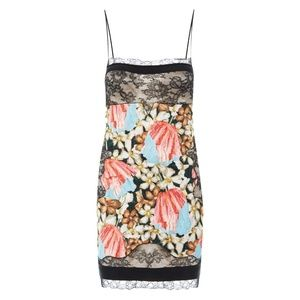 La Perla Floral and Lace Silk Slip Dress